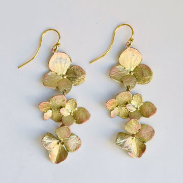 Hydrangea Gold Vermeil Long Earrings - Goldmakers Fine Jewelry