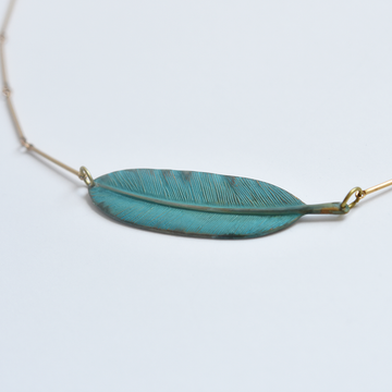 Kela Feather Necklace - Goldmakers Fine Jewelry
