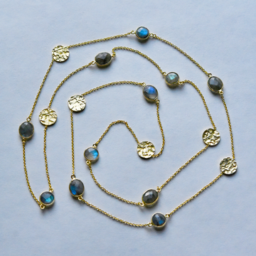 Coin and Labradorite Necklace - Goldmakers Fine Jewelry