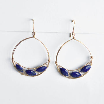 Lapis Lazuli Hoop Earrings - Goldmakers Fine Jewelry