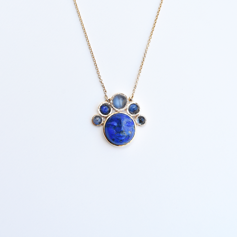Lapis and Moonstone Luna Necklace in Gold - Goldmakers Fine Jewelry