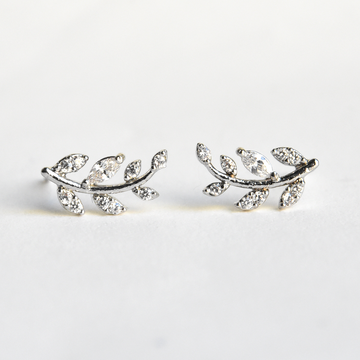 Petite Laurel Leaf Studs in White Gold - Goldmakers Fine Jewelry