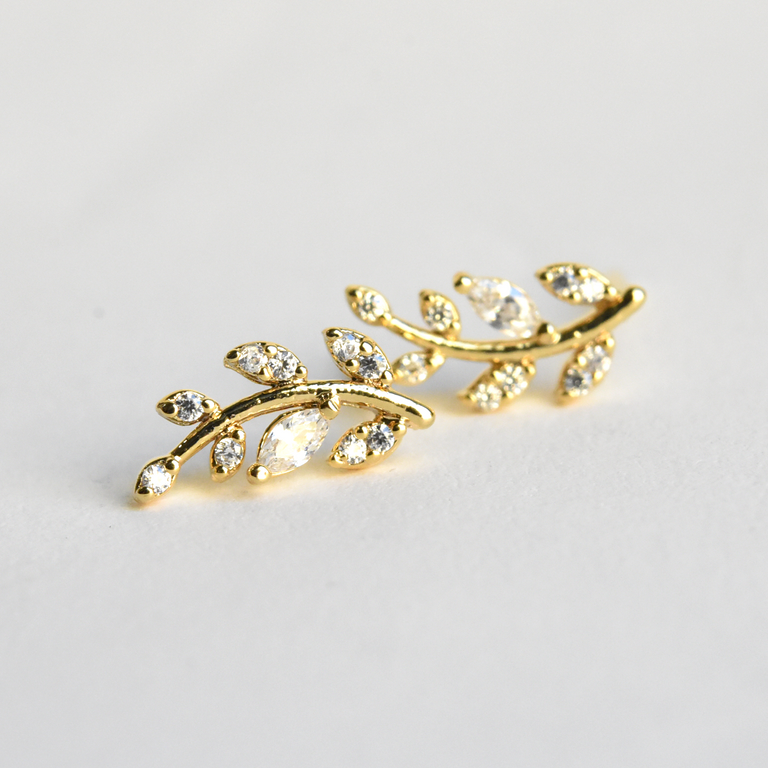 Petite Laurel Leaf Studs in Yellow Gold - Goldmakers Fine Jewelry