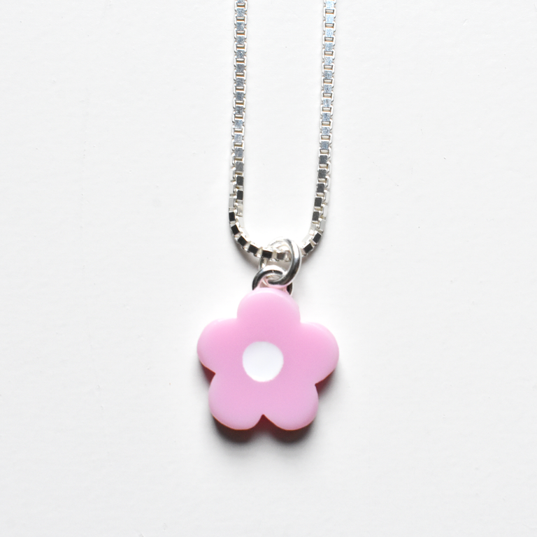 Mini Mod Flower Necklace in Lilac - Goldmakers Fine Jewelry