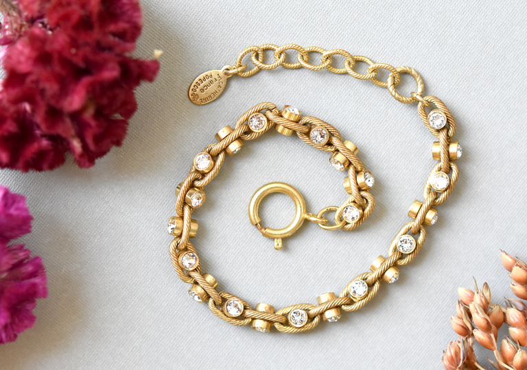 Crystal Link Bracelet in Gold Tone - Goldmakers Fine Jewelry