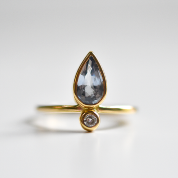 Little Flame Engagement Ring in Sky Sapphire