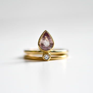 Little Flame Engagement Ring in Pastel Pink Sapphire - Goldmakers Fine Jewelry
