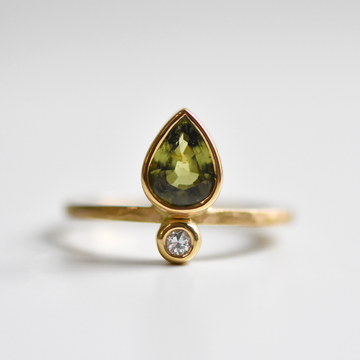 Little Flame Engagement Ring in Verde Sapphire