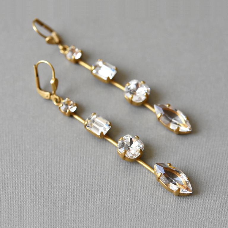 Long Crystal Earrings - Goldmakers Fine Jewelry