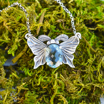 Luna Moth Aquamarine Necklace
