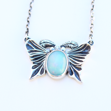 Luna Moth Opal Necklace - Goldmakers Fine Jewelry