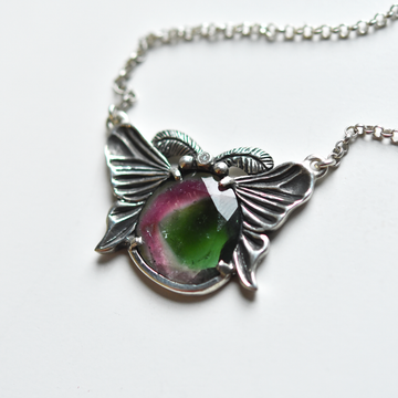 Luna Moth Watermelon Slice Necklace - Goldmakers Fine Jewelry
