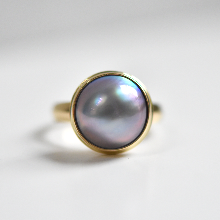 Mabe Pearl Ring in Yellow Gold - Goldmakers Fine Jewelry