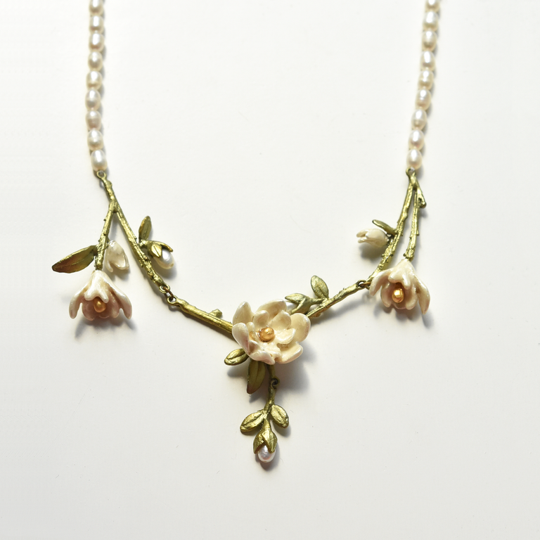 Blooming Magnolia Vine Necklace - Goldmakers Fine Jewelry