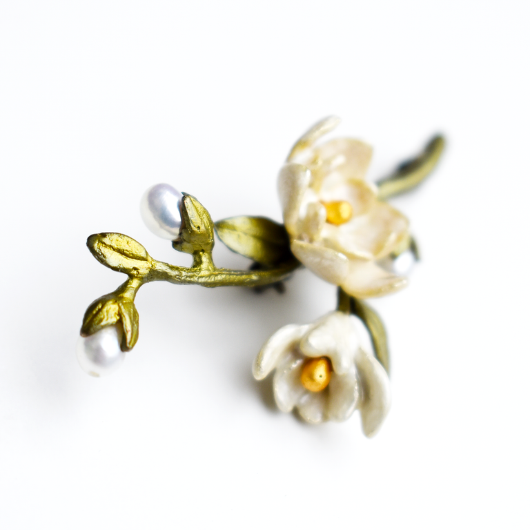 Magnolia Branch Brooch - Goldmakers Fine Jewelry