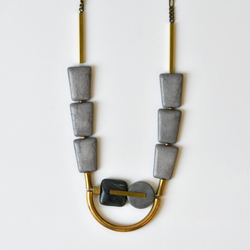 Marble Agate and Glass Arch Necklace - Goldmakers Fine Jewelry