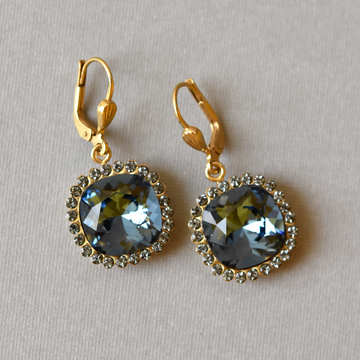 Midnight Blue Halo Drops - Goldmakers Fine Jewelry