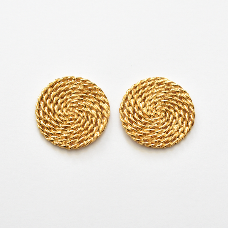 Round Mimbre Earrings in Gold Overlay - Goldmakers Fine Jewelry