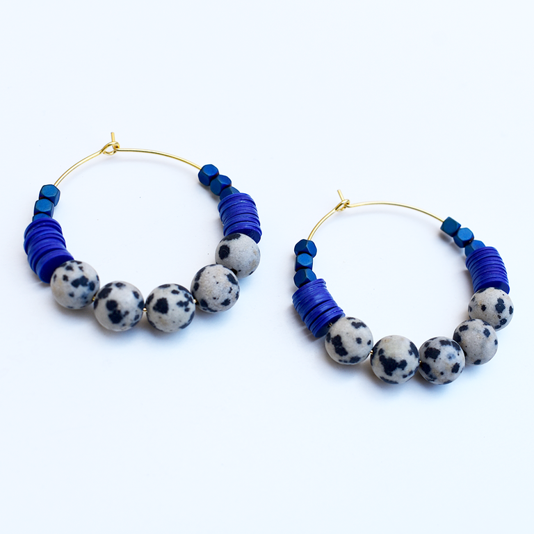Mini Magnesite and Dalmatian Hoop Earrings - Goldmakers Fine Jewelry
