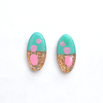 Mint and Pink Gold Glitter Oval Studs - Goldmakers Fine Jewelry