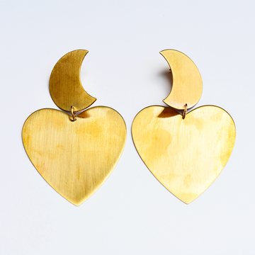 Mira Moon and Heart Earrings - Goldmakers Fine Jewelry