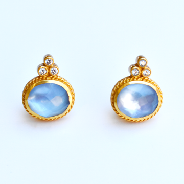 Mirren Luxe Stud in Chalcedony Blue - Goldmakers Fine Jewelry