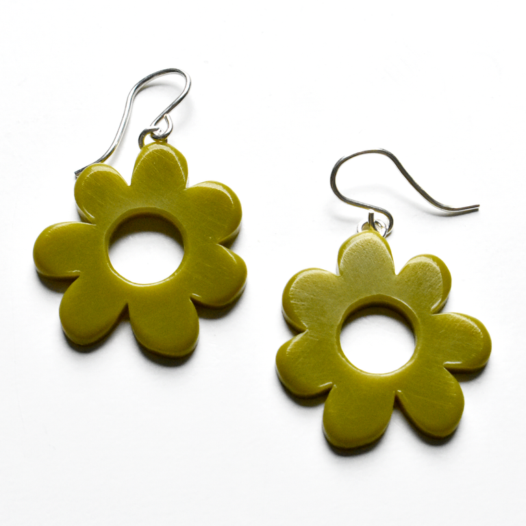 Small Mod Flower Drops in Olive - Goldmakers Fine Jewelry