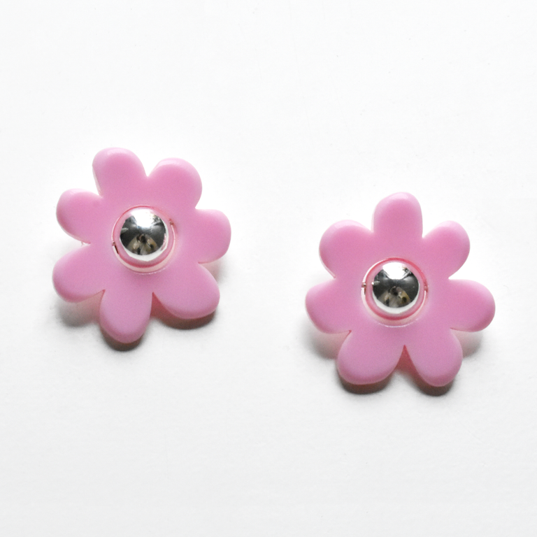 Small Mod Flower Post Earrings in Lilac - Goldmakers Fine Jewelry