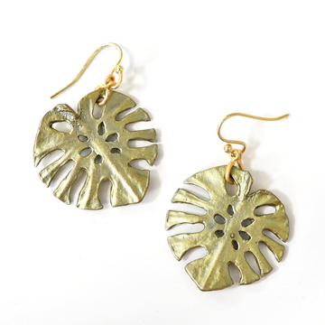 Monstera Earrings - Goldmakers Fine Jewelry