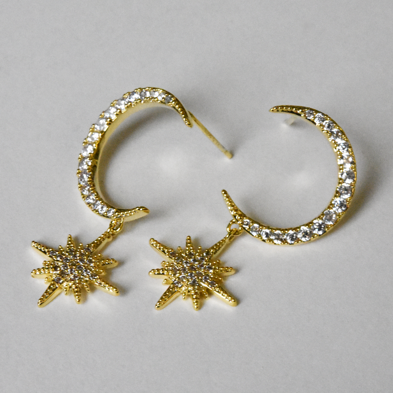 Moon and Star Posts in Gold - Goldmakers Fine Jewelry