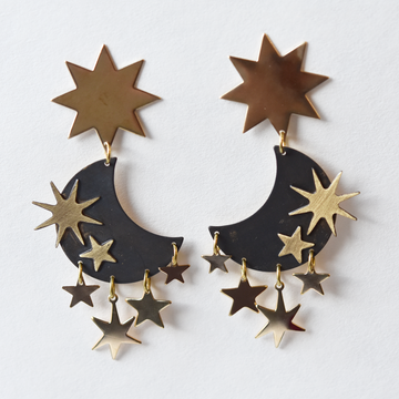 Moon and Star Post Earrings - Goldmakers Fine Jewelry