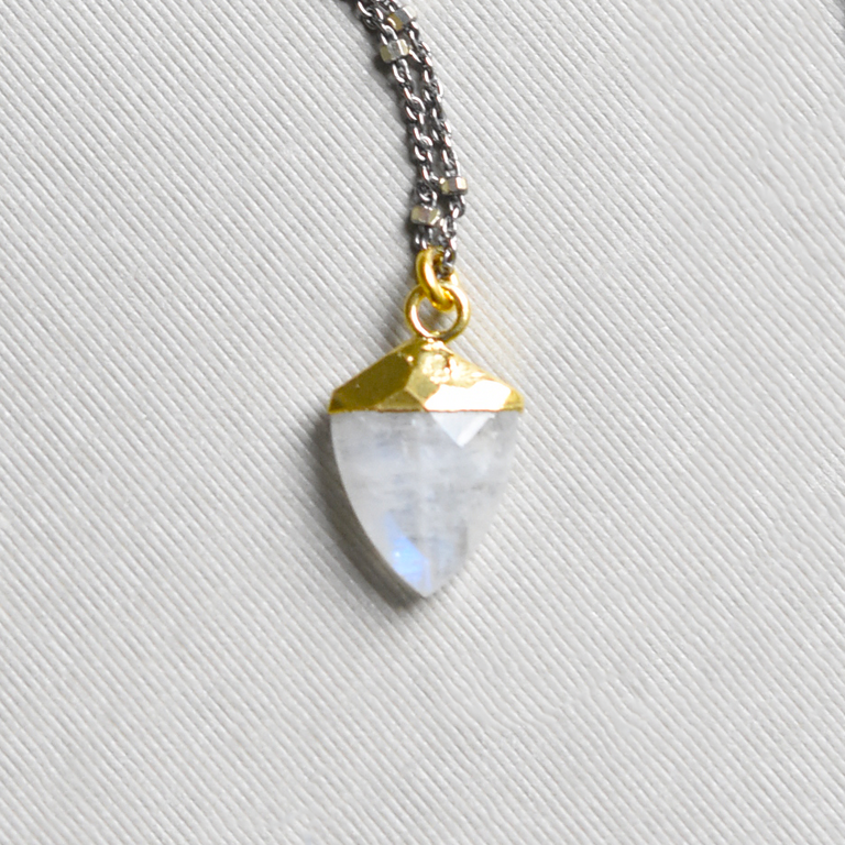 Moonstone Shield Necklace - Goldmakers Fine Jewelry
