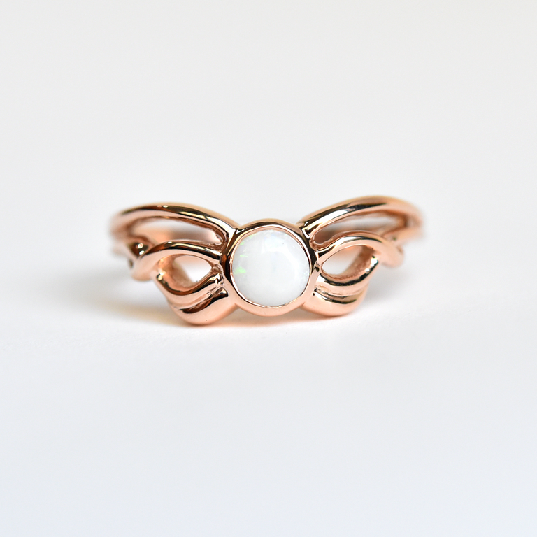 Abstract Moth ring in Rose Gold with Opal - Goldmakers Fine Jewelry
