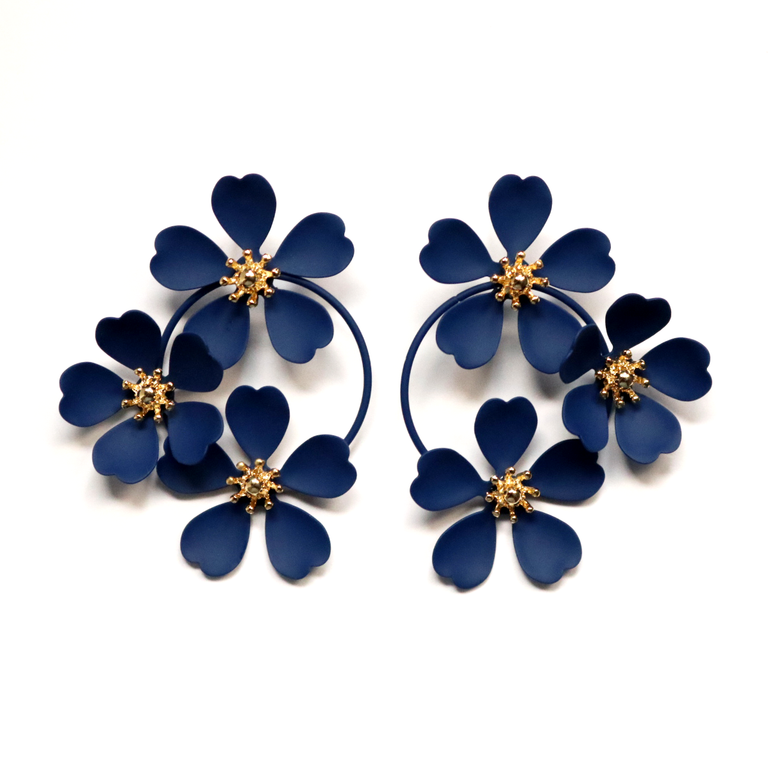 Navy Flower Drop Earrings - Goldmakers Fine Jewelry