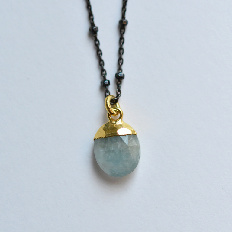 Sterling Silver Aquamarine Necklace - Goldmakers Fine Jewelry