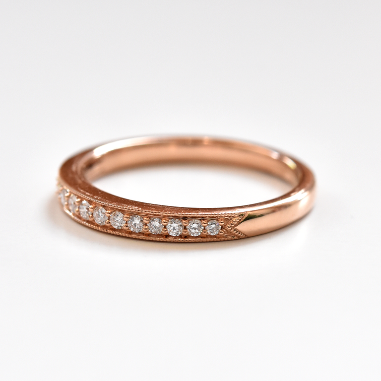 Diamond Engagement Band in Rose Gold - Goldmakers Fine Jewelry