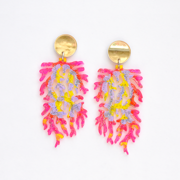 Neon Pink Coral Post Earrings - Goldmakers Fine Jewelry