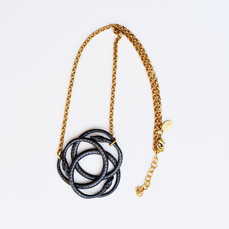 Noir Snake Knot Necklace - Goldmakers Fine Jewelry