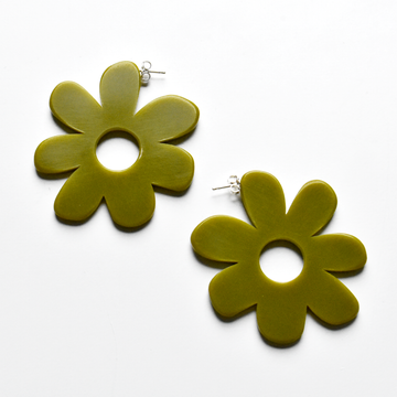 Large Mod Flower Hoops in Olive - Goldmakers Fine Jewelry