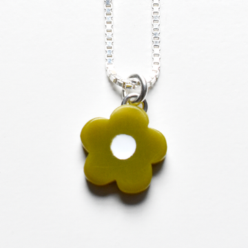 Mini Mod Flower Necklace in Olive - Goldmakers Fine Jewelry