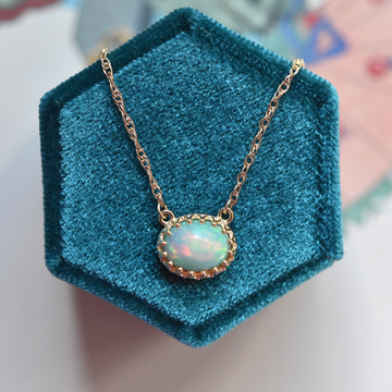 Moon Dew Opal Necklace in Gold - Goldmakers Fine Jewelry