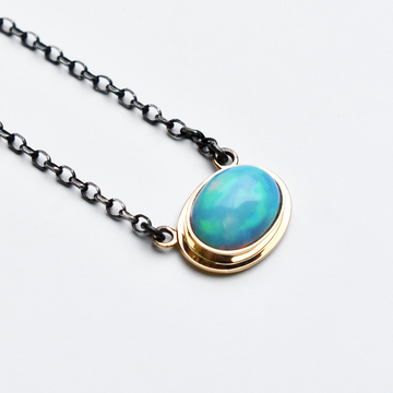 Blue Opal Necklace in Gold and Silver - Goldmakers Fine Jewelry