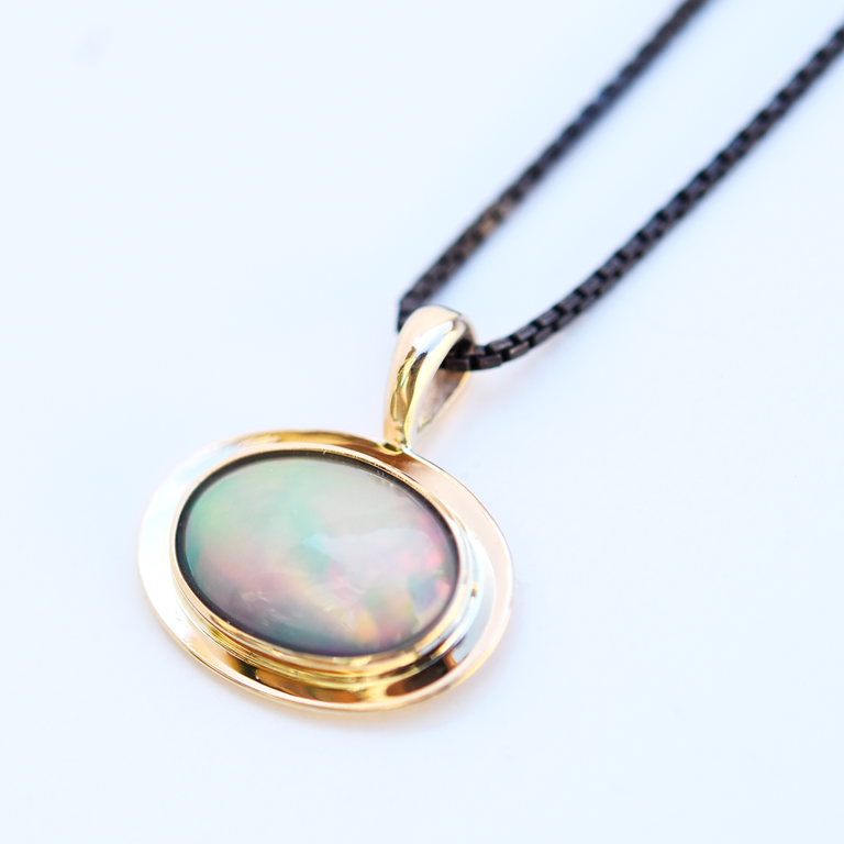Opal and Gold Saucer Pendant Necklace - Goldmakers Fine Jewelry