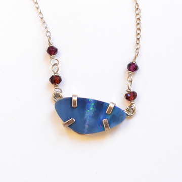 Opal and Garnet Pendant Necklace - Goldmakers Fine Jewelry