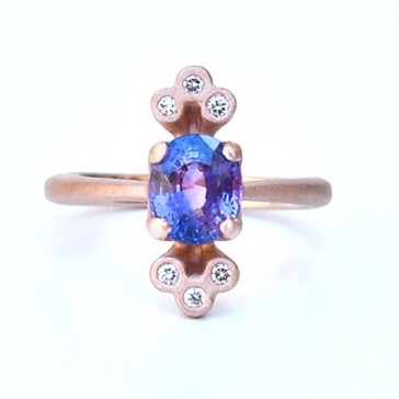 Orchid Sapphire and Diamond Engagement Ring in Rose Gold - Goldmakers Fine Jewelry