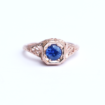 Palm and Wheat Filigree Ring in Rose Gold and Sapphire - Goldmakers Fine Jewelry