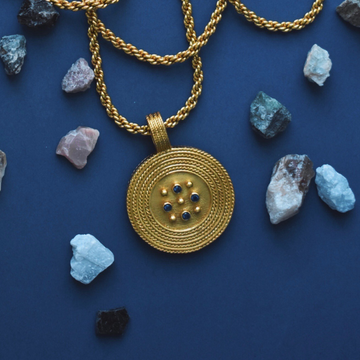 Paris Sapphire Blue Medallion Necklace - Goldmakers Fine Jewelry