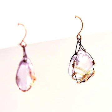 Rose Quartz Teardrop Earrings - Goldmakers Fine Jewelry
