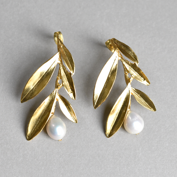 Golden Olive Pearl Earrings - Goldmakers Fine Jewelry