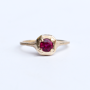 Petite Ruby Vintage Filigree Engagement Ring - Goldmakers Fine Jewelry